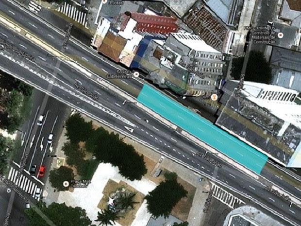 Piscina será instalada em pista do Minhocão. (Foto: Luana Geiger)