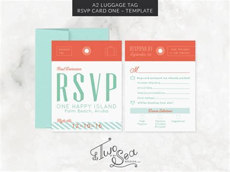 A2 Luggage Tag RSVP Card Template ~ Invitation Templates