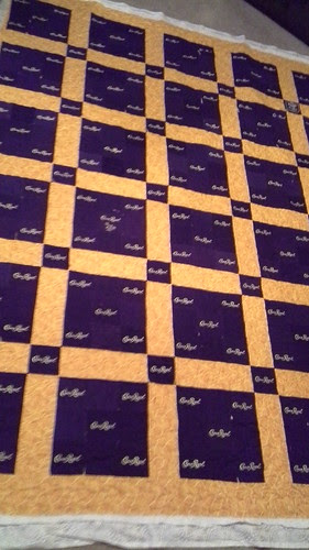 Ed's Crown Royal quilt is quilted.