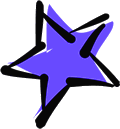 Star hand color blue