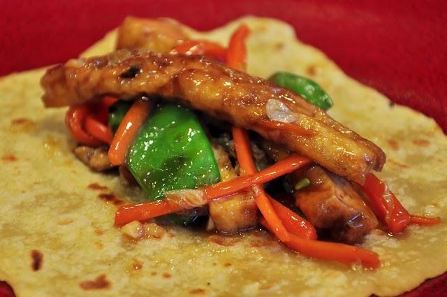 Moo Shu Pancakes, Szechuan Eggplant with Sesame-Fried Rice