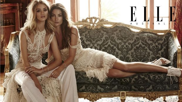 The spread in <i>Elle Australia</i> features Rosie Huntington-Whiteley and Lily Aldridge.