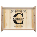 Monogram Natural Wood Design Serving Trays