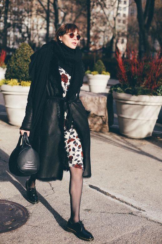 Le Fashion Blog Black Scarf Long Shearling Coat Floral Slip Dress Fishnet Tights Black Dr Martens Via Natalie Off Duty