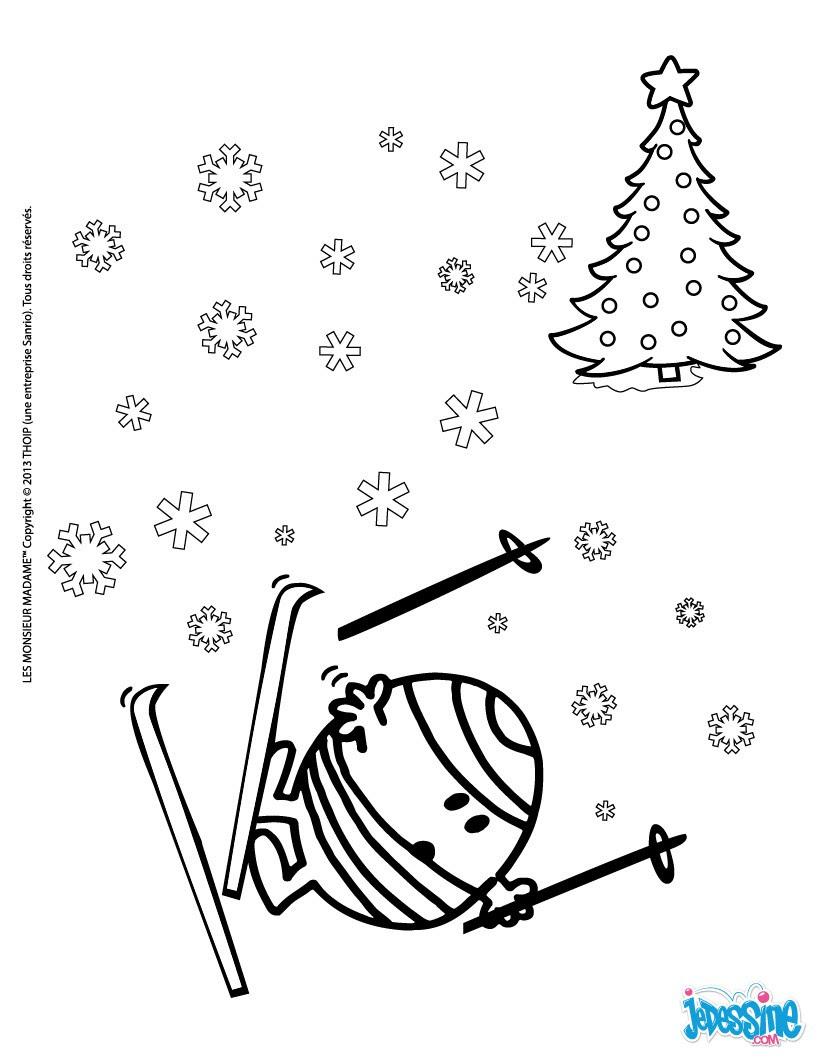 Monsieur heureux en p¨re No l Monsieur Malchance fait du ski