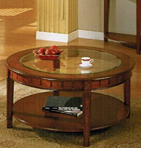 Amazon.com: 5mm Tempered Glass Top Round Coffee Table in Cherry Finish: Kitchen & Dining