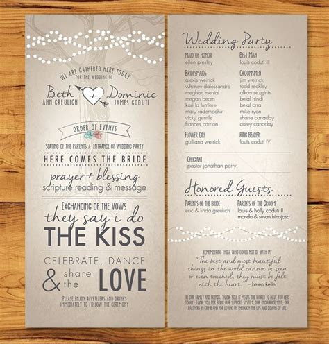Long, skinny wedding programs with non tradition ceremony