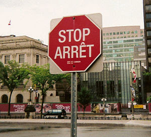 Bilingual stop sign in Ottawa, Ontario