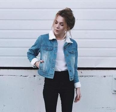 Winter Black Denim Jacket Outfit