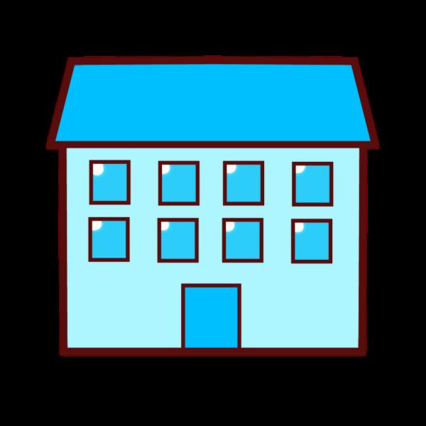 青い建物のイラスト かわいいフリー素材が無料のイラストレイン