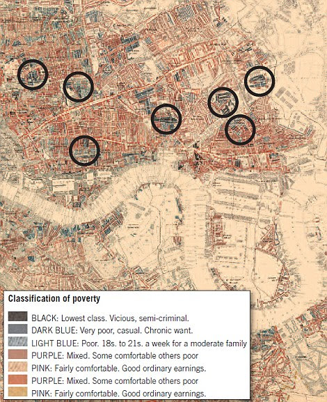Then and now: Charles Booth's Victorian map from 1889, right, highlights the most-poverty hit areas of East London, while the modern-day equivalent, left, shows that the exact same areas have the highest risk of diabetes