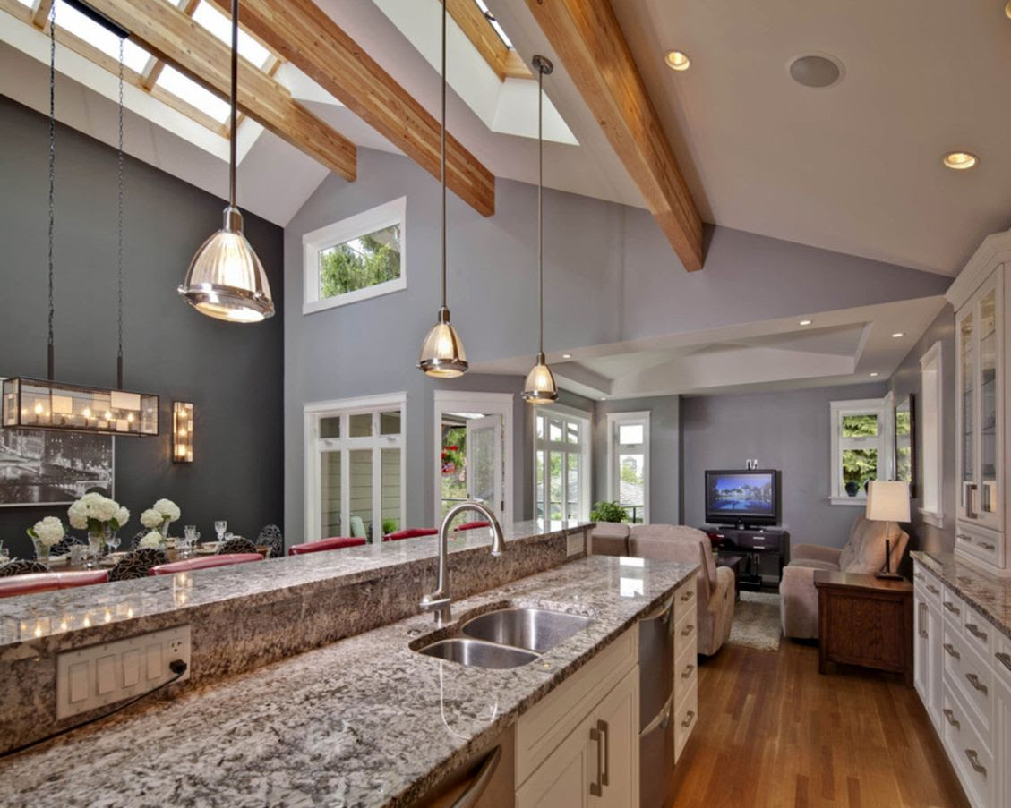 Home Architec Ideas Kitchen Lighting Design Vaulted Ceiling