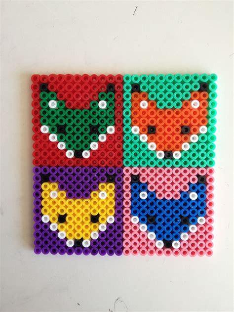 fox hama perler beads coasters craft ideas pinterest