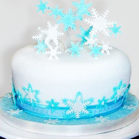 Blue and White Snowflake Christmas Cake