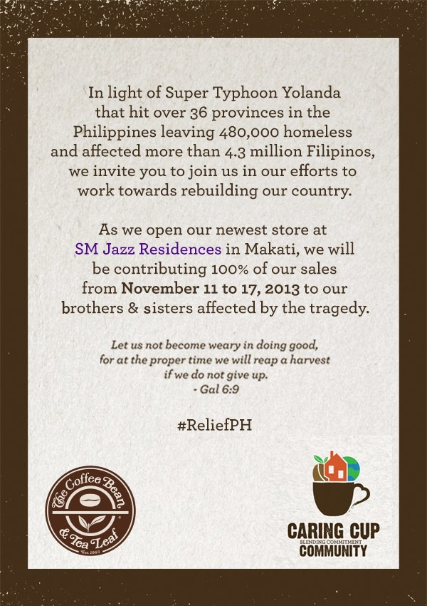 CoffeeBean for victims of #YolandaPH
