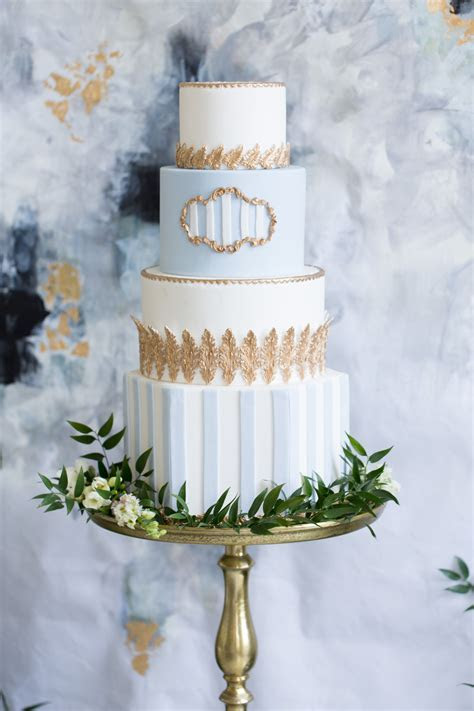 Sky Blue and Gold Wedding Cake   Elizabeth Anne Designs