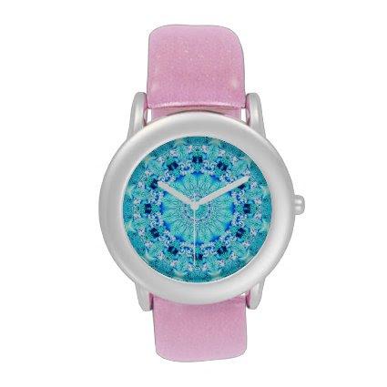 Aqua Lace Mandala, Delicate, Abstract Blue Wristwatches