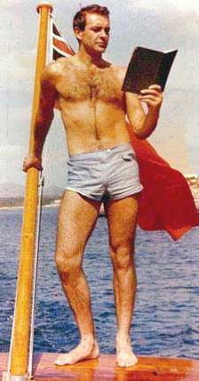 Sean Connery as James Bond on a Riva speedboat