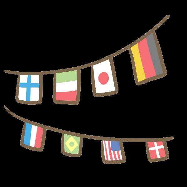 万国旗のイラスト かわいいフリー素材が無料のイラストレイン