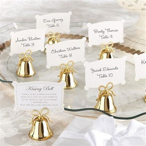 24 Pc. Gold Wedding Kissing Bell Place Card Holder Set