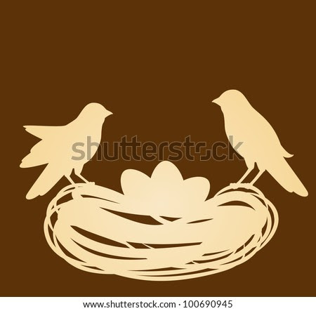 Birds in nest with eggs. Easter vector card - stock vector