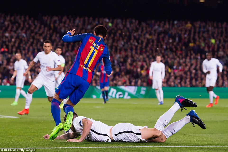 Neymar is upended by defender Thomas Meunier inside the penalty area to gift Barca the chance to score from 12 yards
