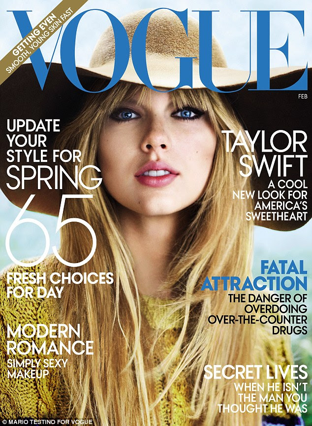 Impressionante: Taylor parecia mais velho do que ela 22 anos com cabelos lisos e make-up impressionante como ela foi fotografada por Mario Testino para a Vogue