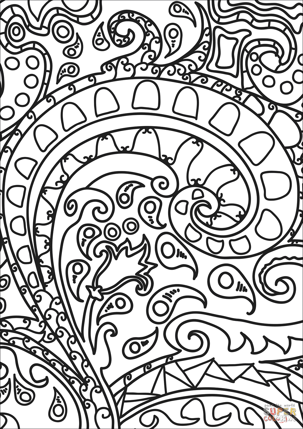 Abstract Doodle coloring page   Free Printable Coloring Pages