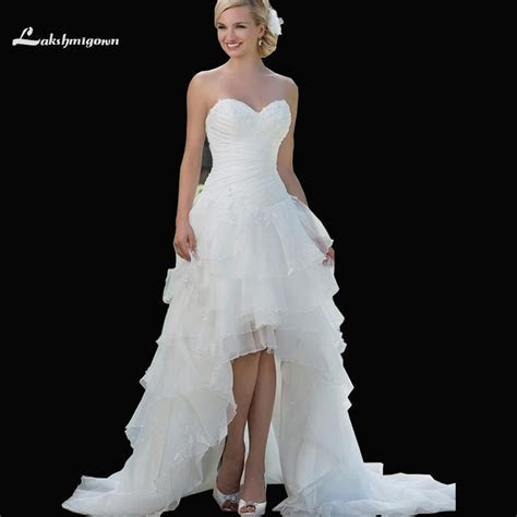 Exquisite Sweetheart Corset High Low Wedding Dresses