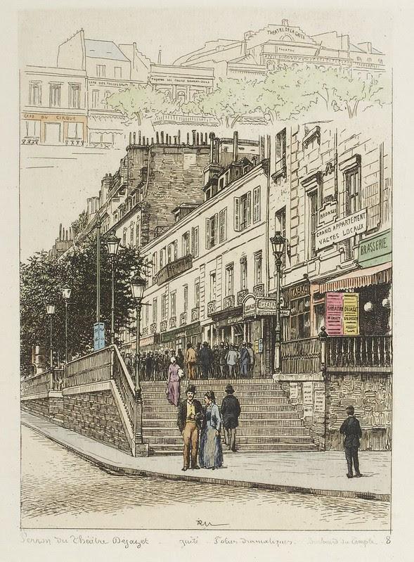 2 Paris street & theatre scenes 19th cent.