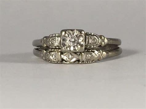 Vintage Diamond Engagement Ring And Wedding Band Set