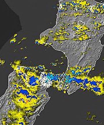 Wellington weather radar at the time of the Waikanae tornado.