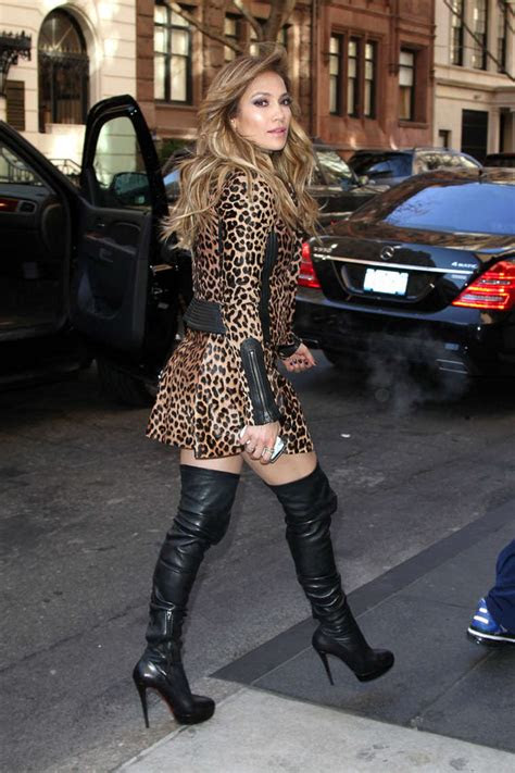 jennifer lopez  leopard print dress  boots  gotceleb