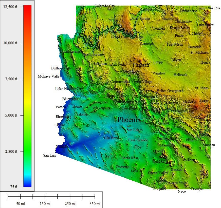 Elevation Map Of Arizona Az Elevation Map | Campus Map