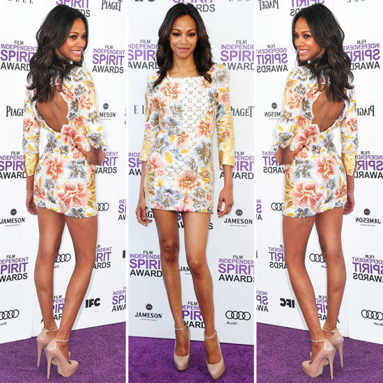 Zoe Saldana celebrity in balmain dress photo