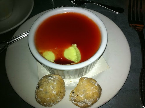Peach Leaf Pot de Creme with Sour Cherry Coulis and Cocoa Nib Cookies
