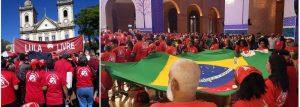 Missa no Santuário de Nossa Senhora Aparecida pelo presidiário Lula da Silva, com a presença de petistas com camisetas vermelhas com a estampa de Nossa Senhora na frente e de Lula nas costas.