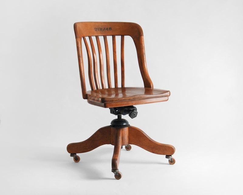 Vintage Oak Office Chair Wood Mid Century Lounge by Hindsvik