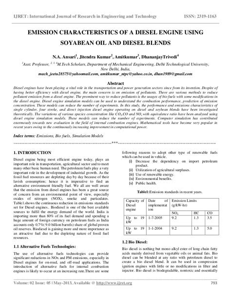 Emission characteristics of a diesel engine using soyabean