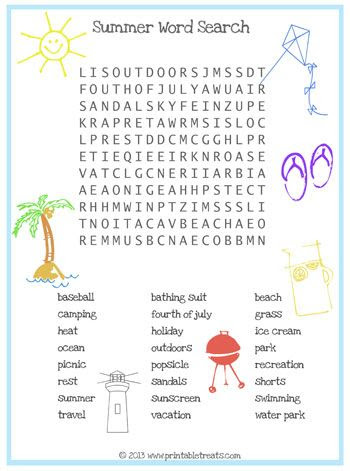 Welcome Summer Word Search : Printables for Kids – free word ...