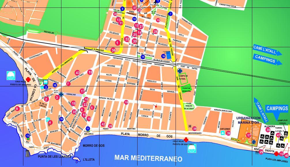Mapa Torre Del Mar.Mapa Oropesa Del Mar Mapa