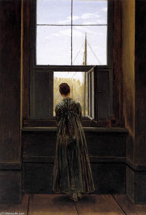 Mujer en la ventana (3), óleo sobre lienzo de Caspar David Friedrich (1774-1840, Germany)
