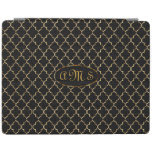 Monogram Black & Metallic Gold Quatrefoil Pattern iPad Cover
