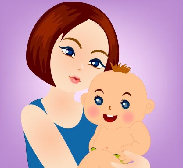 Ibu Menggambar Perempuan Bayi Ikon Kartun Berwarna Orang Orang