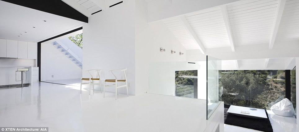 Go with the flow: The LA home is made from white steel, plaster and concrete with contrasting black plaster walls