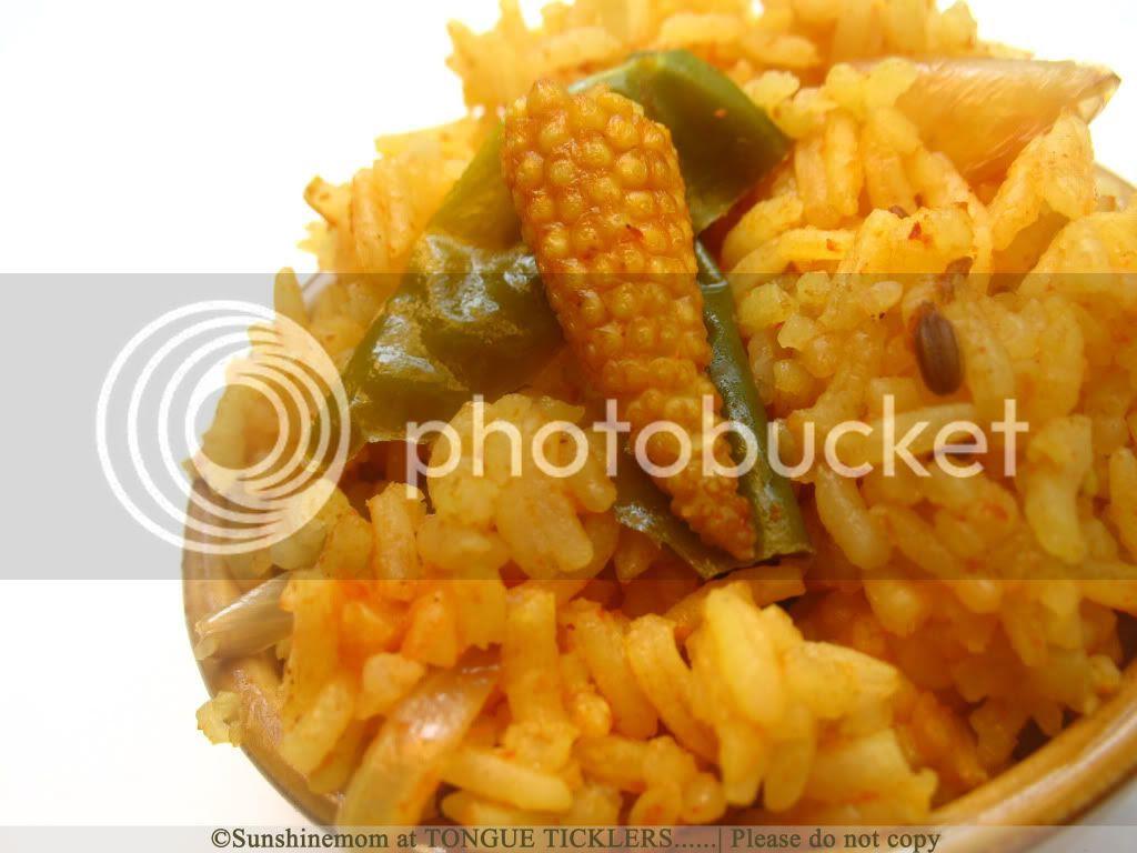 Tomato rice iwht baby corn