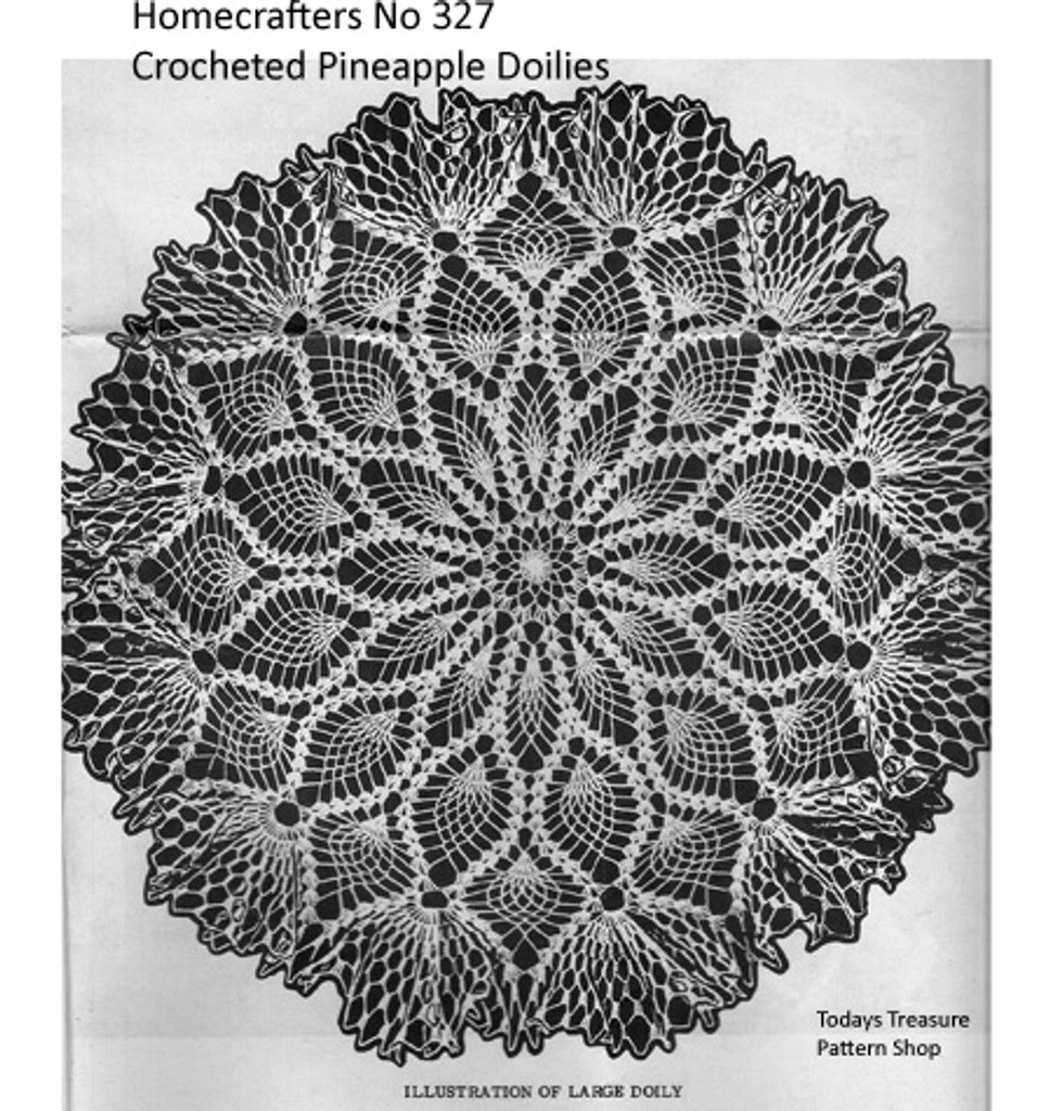 Large Pineapple Doily Pattern with Shell Ruffled Border