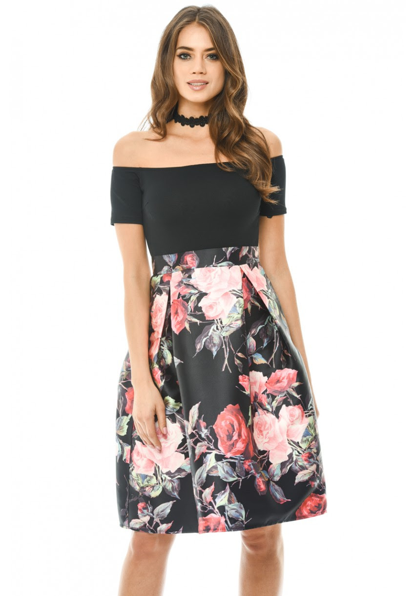 Online floral printed see through midi skater dress how ethically
