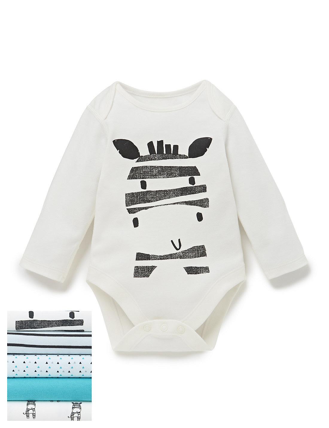 5 Pack Zebra Print Bodysuits