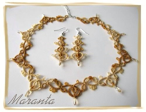 komplet biżuterii frywolitkowej